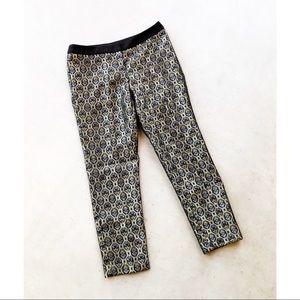 WORTHINGTON Gold Metallic Jacquard Printed Pants